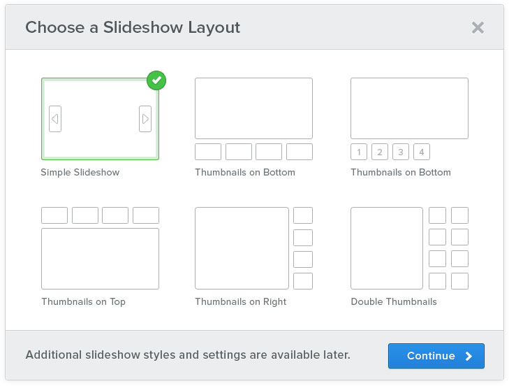 choose a slideshow layout